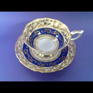 Royal Stafford Gold Filigree Blue Teacup Duo